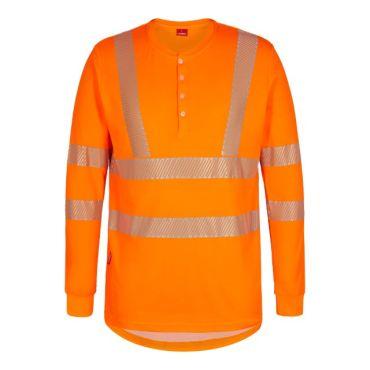 Safety EN ISO 20471 langärmliges T-Shirt mit Knöpfen F. Engel